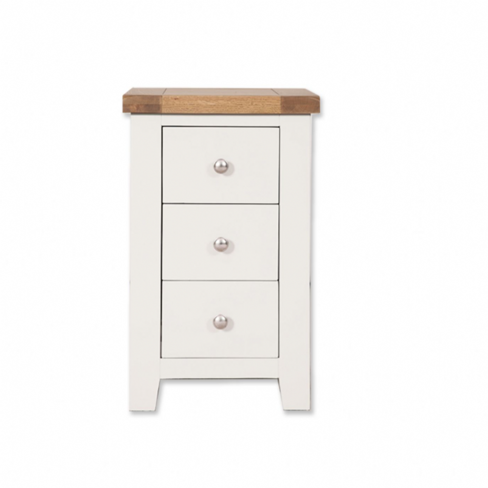 Melbourne White 3 Drawer Bedside Cabinet